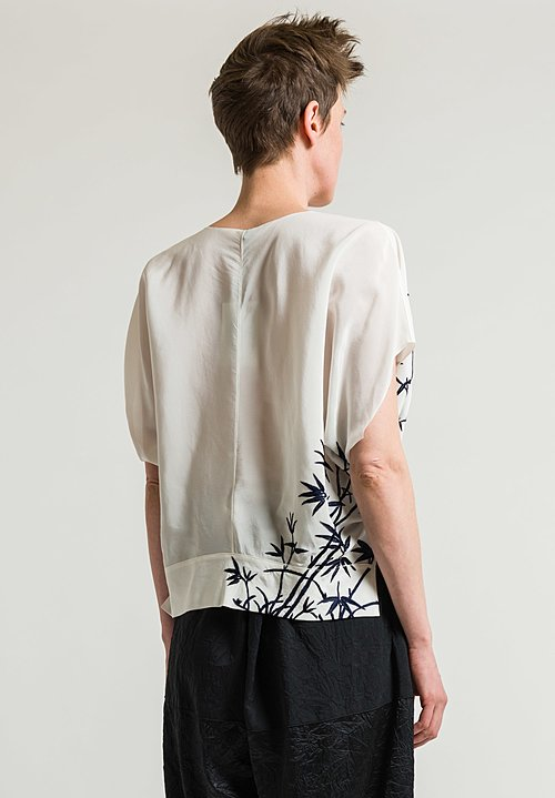 Ms Min Bamboo Motif Top in White