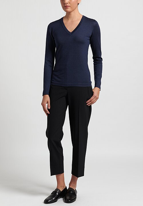 Brunello Cucinelli V-Neck Sweater in Navy	Blue