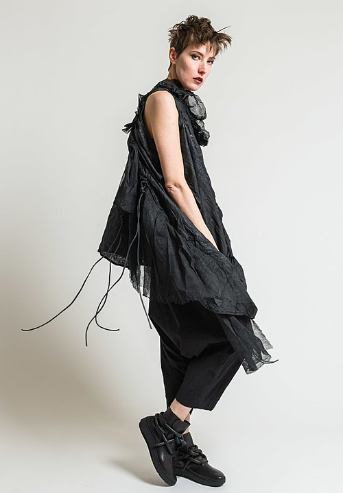 Rundholz Dip Asymmetric Tunic with Mesh in Black