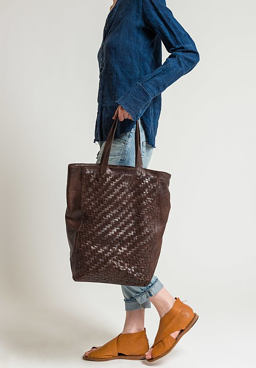 Rita Merlini Tall Beatrice Tote in Dark Brown
