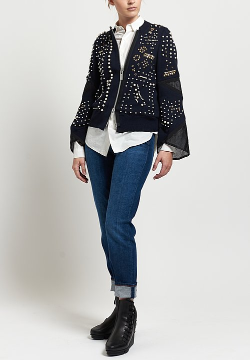 Sacai Pearl & Stud Embellished Jacket in Navy