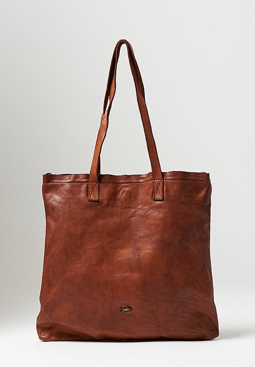 Campomaggi Big Flat Shopping Bag in Cognac