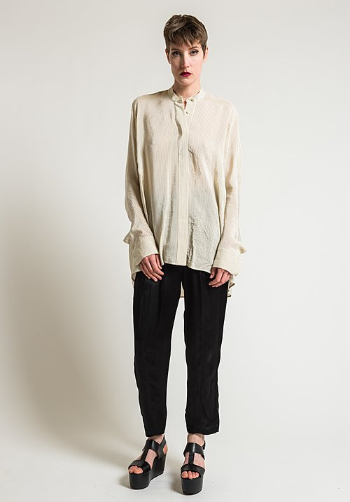 Urban Zen Small Striped Shirt in Ecru