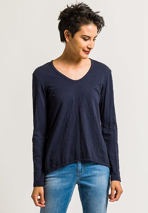 Wilt Long Sleeve Shrunken Boyfriend Tee in Inky