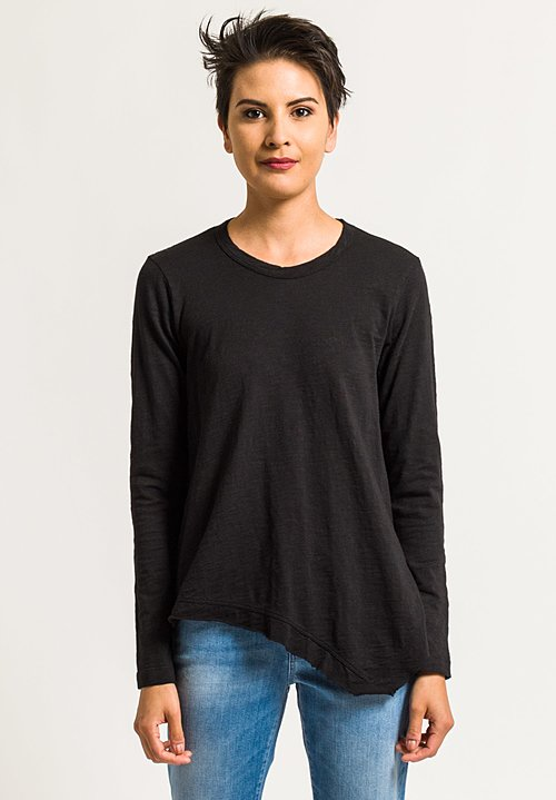Wilt Crew Neck Slant Hem Tee in Black