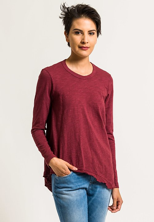 Wilt Crew Neck Slant Hem Tee in Blood