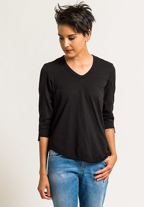 Wilt Mixed Shifted 3/4 Sleeve Tee in Black