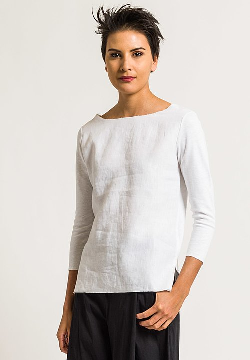 Majestic 3/4 Sleeve Boat Neck Tee in Blanc