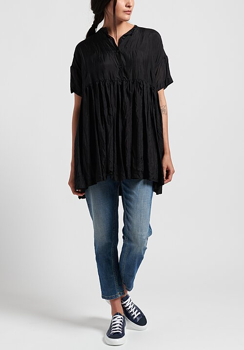 Casey Casey Pleated Bebe Top in Black