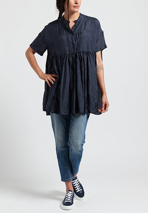 Casey Casey Pleated Bebe Top in Navy