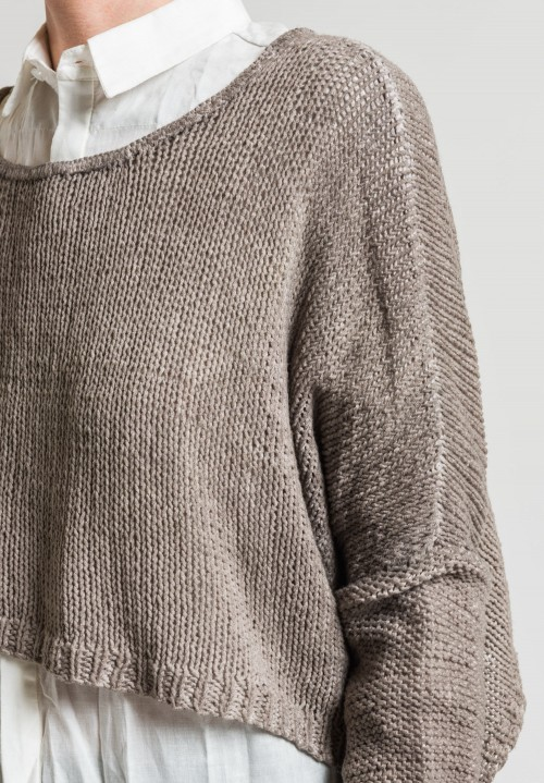 Umit Unal Cotton Hand Knit Sweater in Natural