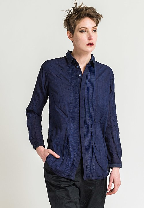 Umit Unal Sheer Back Shirt in Navy