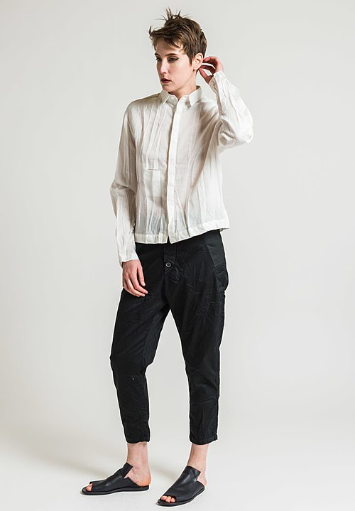 Umit Unal Linen Low-Waist Shirt in White