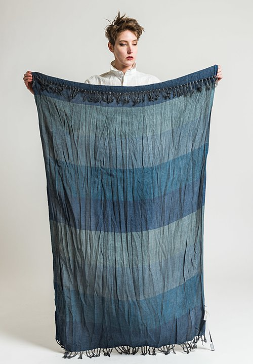 Umit Unal Cotton Panel Scarf in Blue