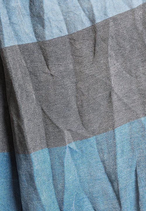 Umit Unal Cotton Panel Scarf in Light Blue