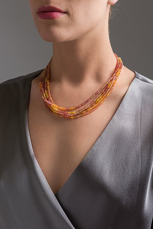 Greig Porter Five Strand Red and Orange Sapphire Necklace