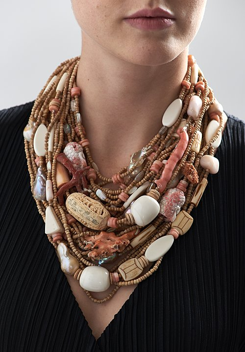 Monies UNIQUE Italian Coral, Bone, Baroque Pearls, Coconut Shell, and Mammoth Necklace