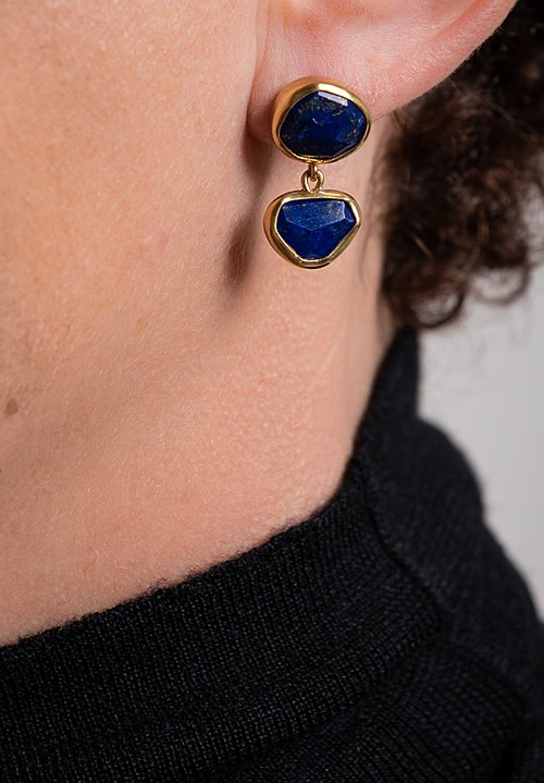 Greig Porter 22K, Small Lapis 1-Drop Earrings
