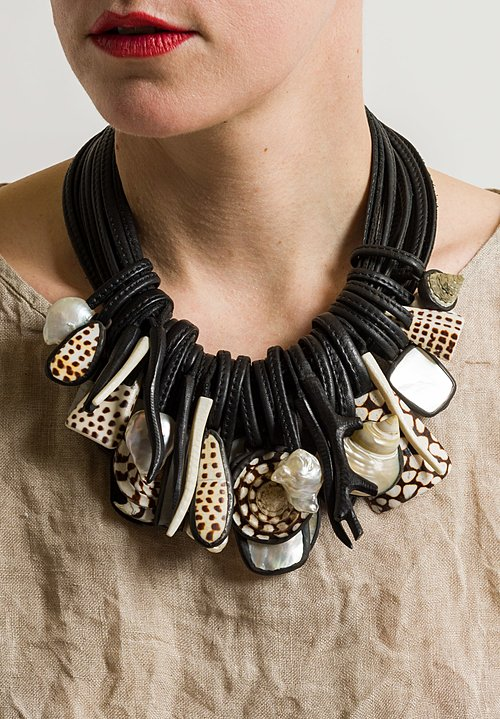 Monies UNIQUE Bone, Ebony, Baroque Pearls, and Mother of Pearl Necklace