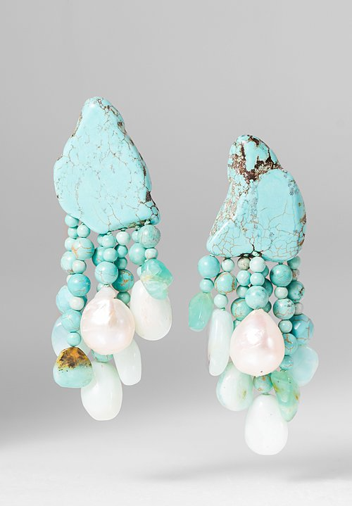 Monies UNIQUE Turquoise, Pearl, and Opal Clip On Earrings