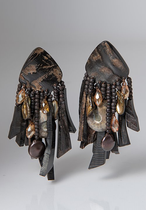 Monies UNIQUE Ammonite, Pearl, Horn, Ebony, and Crystal Clip On Earrings