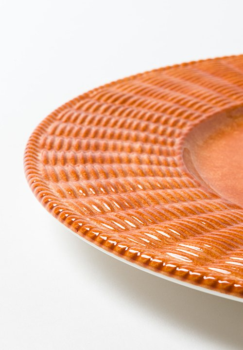 Basketweave Ceramic Charger in Arancio