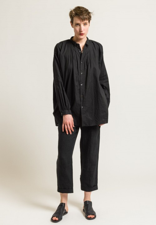 Kaval Gathered Button-Down Shirt in Black