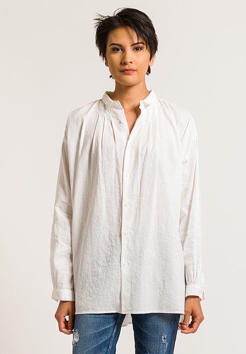 Kaval Gathered Button-Down Shirt in Off-White