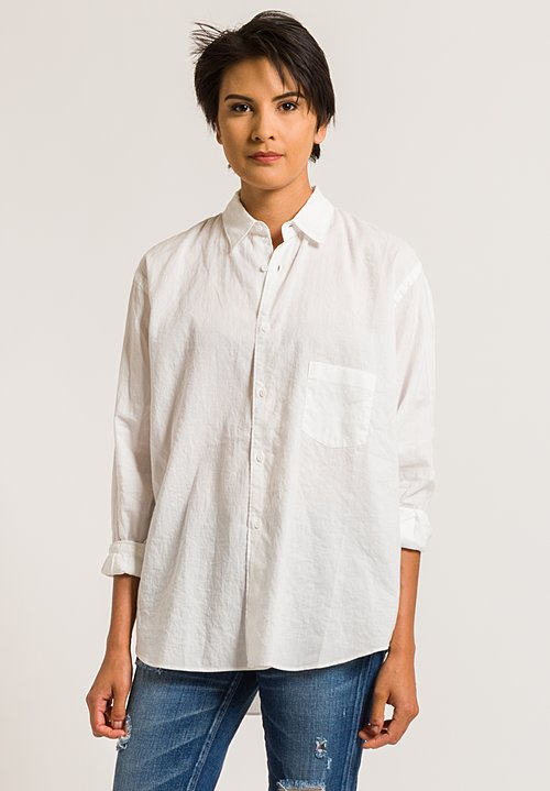 Kaval Button-Down Shirt with Back Tuck in Off-White