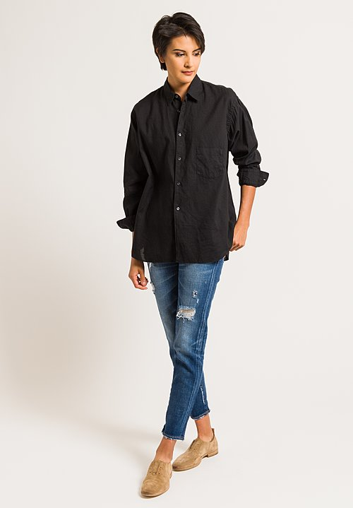 Kaval Button-Down Shirt with Back Tuck in Black