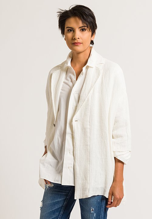 Kaval Cotton/Paper Stole Jacket in Off-White