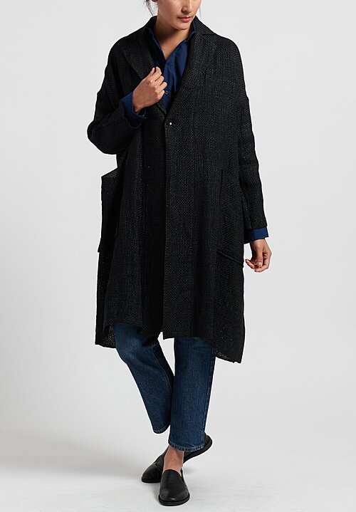 Kaval Cotton/Paper Long Stole Jacket in Black