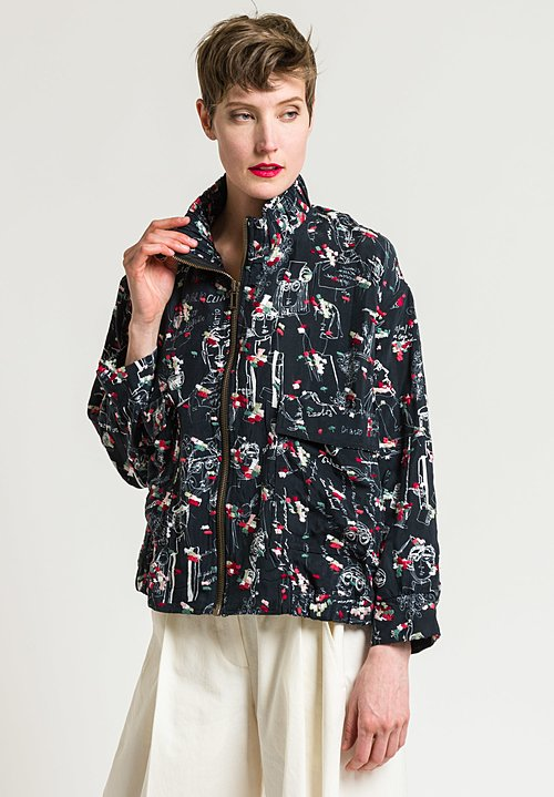 Miao Ran Printed & Embroidered Bomber Jacket in Black