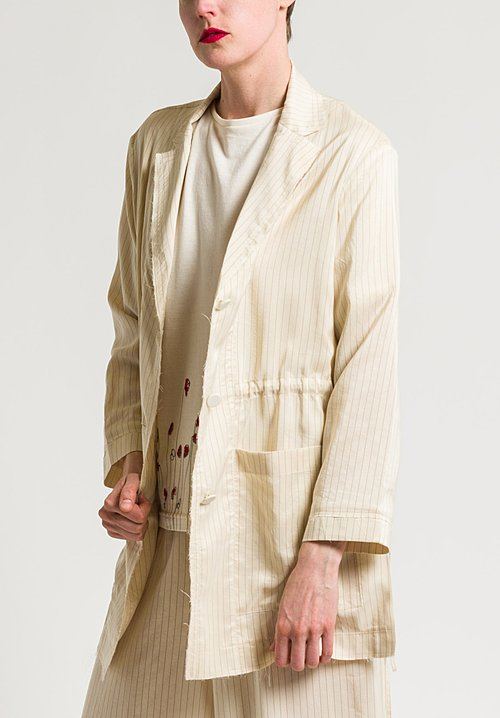 Miao Ran Stripped Shirt Jacket in Natural/Red