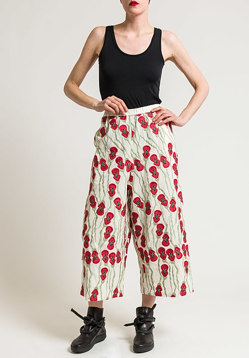 Miao Ran Cotton Poppy Wide Leg Pants in Natural