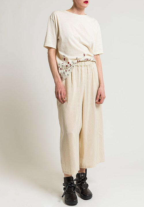 Miao Ran Stripped Culottes in Natural/Red