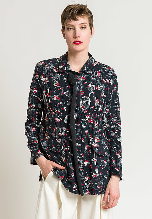 Miao Ran Printed & Embroidered Jacket in Black