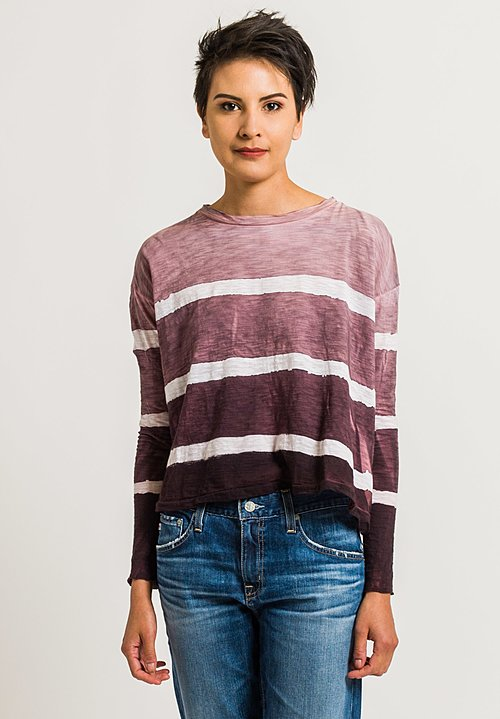 Gilda Midani Straight Trapeze Tee in Bordeaux Stripes