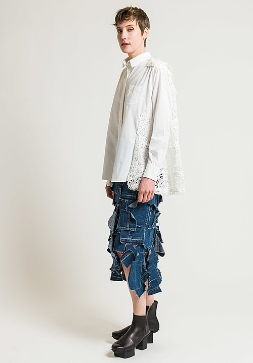 Sacai Lace Back Button-Up Shirt in Off-White
