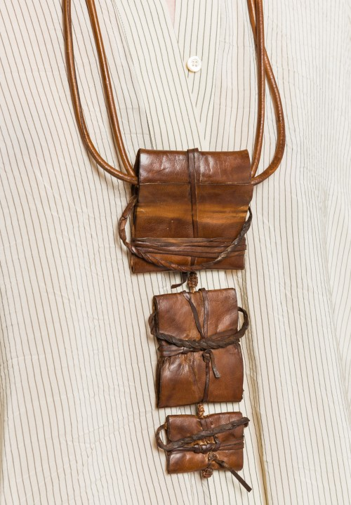 Urban Zen Leather Tri-Pendant in Brown/Black