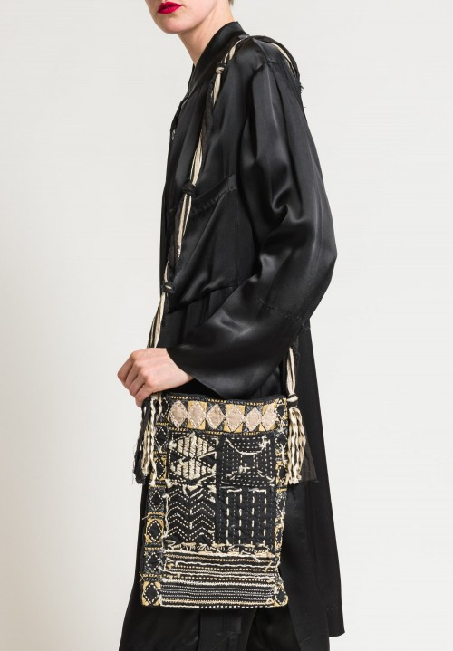Urban Zen Embroidered Cross Body Bag in Black Multi