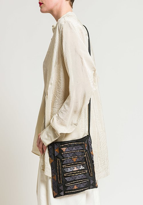 Urban Zen Adorned Cross Body Bag in Black