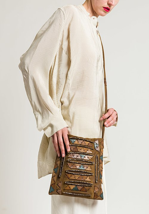 Urban Zen Adorned Cross Body Bag in Tobacco