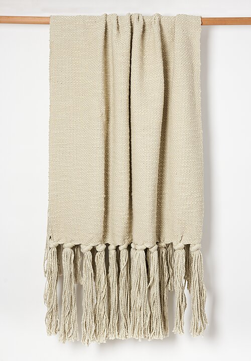 Hand Woven Raw Cotton Throw in Cream