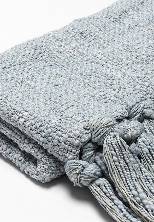 Hand Woven Raw Cotton Throw in Sky