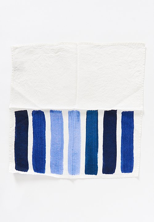 Bertozzi Handmade Linen Striped Napkin in Blue