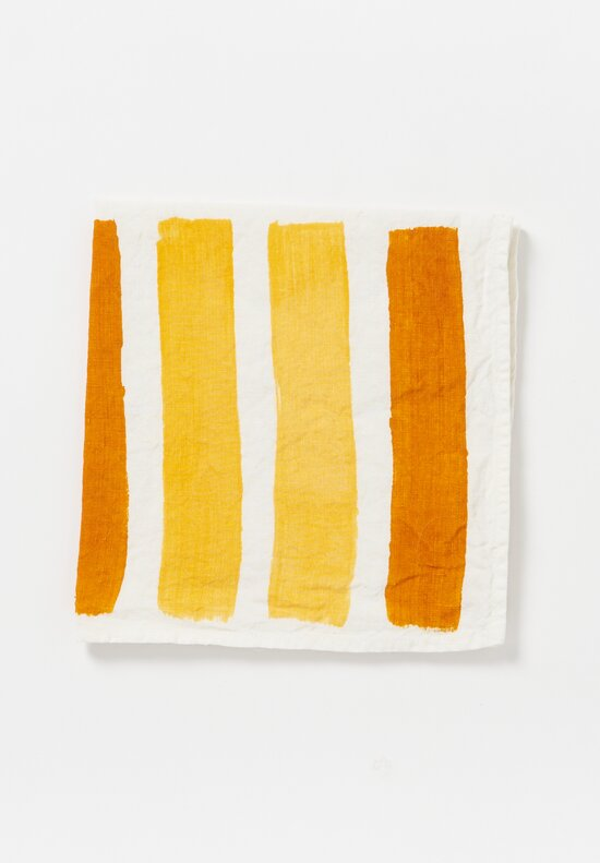 Bertozzi Handmade Linen Striped Napkin in Yellow