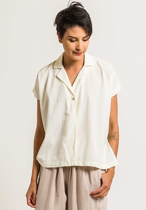Black Crane Woven Cotton Box Shirt in Cream