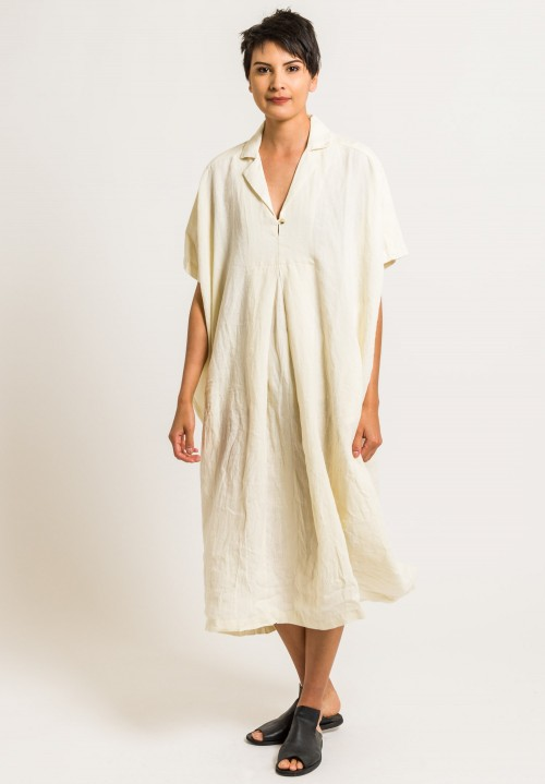 a4d24e05422 ... Black Crane Linen Kite Dress in Cream ...