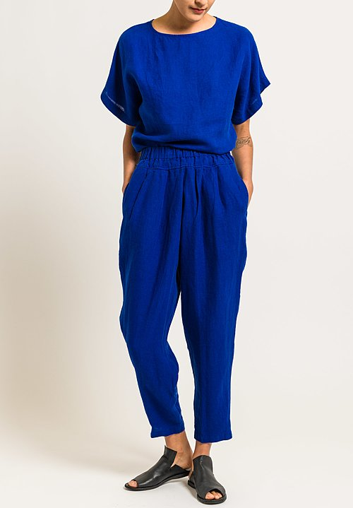 Black Crane Linen Carpenter Pant in Royal